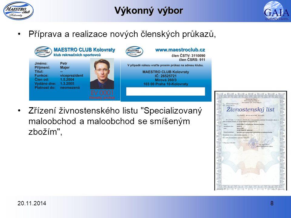 Výkonný výbor Příprava a realizace nových členských průkazů,
