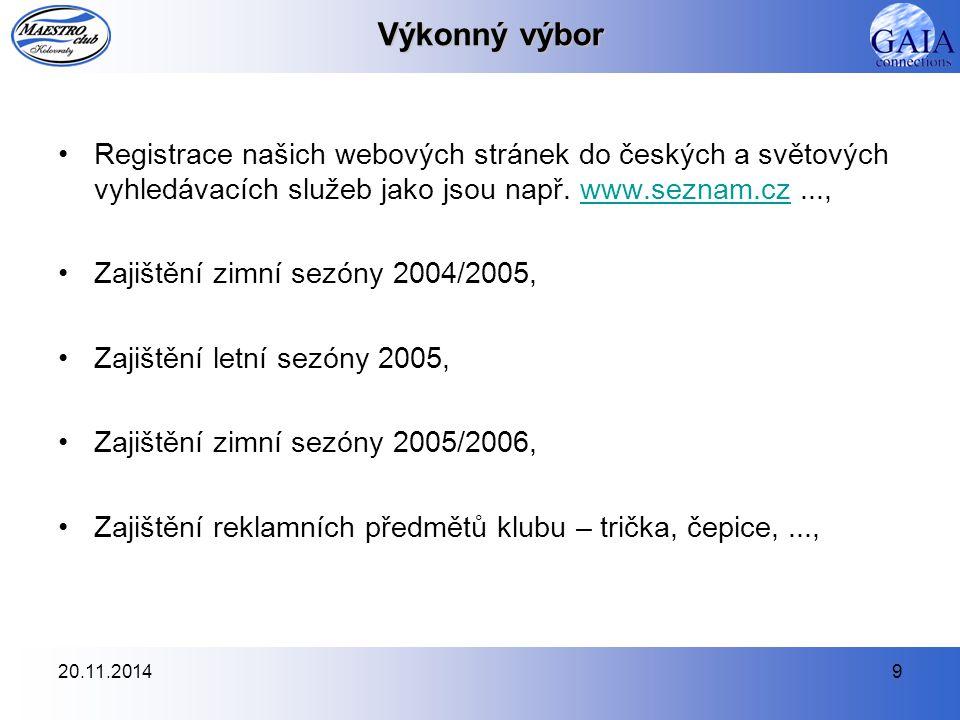 Výkonný výbor Registrace našich webových stránek do českých a světových vyhledávacích služeb jako jsou např. www.seznam.cz ...,