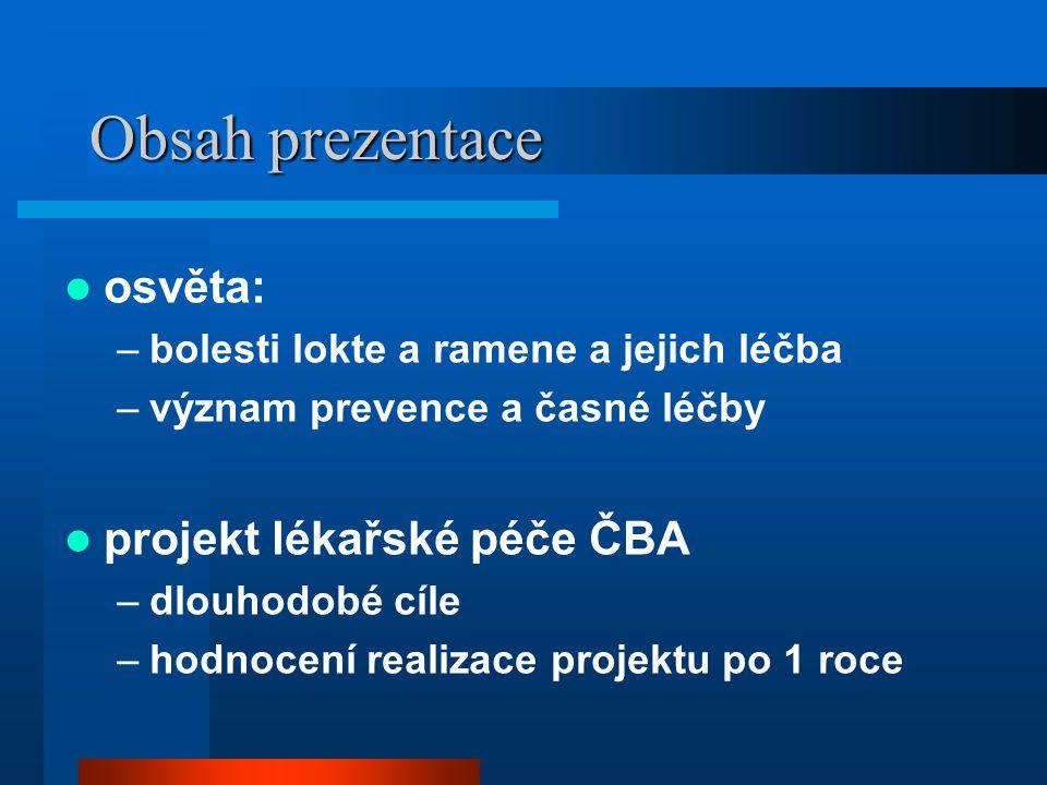 Obsah prezentace osvěta: projekt lékařské péče ČBA