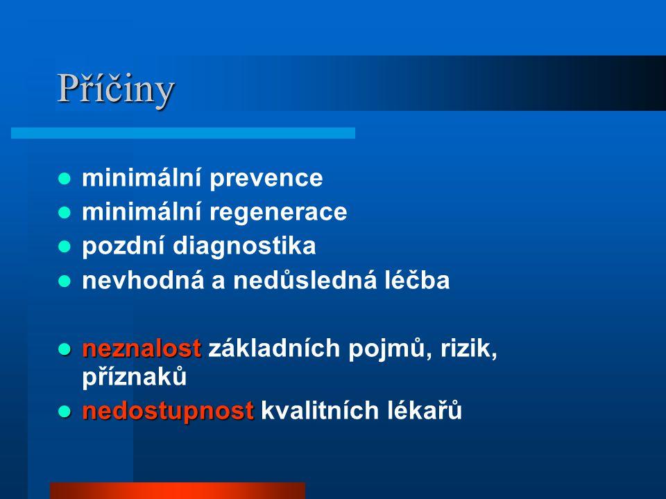 Příčiny minimální prevence minimální regenerace pozdní diagnostika