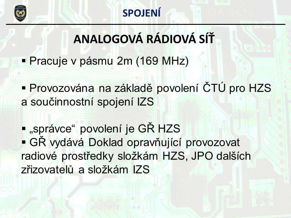 ANALOGOVÁ RÁDIOVÁ SÍŤ SPOJENÍ Pracuje v pásmu 2m (169 MHz)