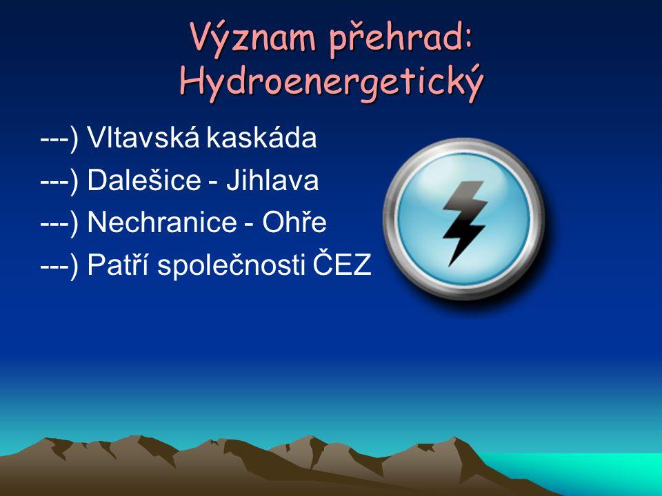 Význam přehrad: Hydroenergetický