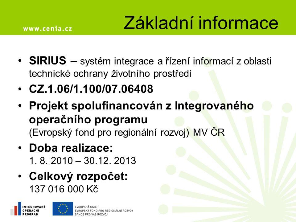 Základní informace SIRIUS – systém integrace a řízení informací z oblasti technické ochrany životního prostředí.