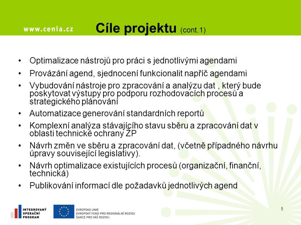Cíle projektu (cont.1) Optimalizace nástrojů pro práci s jednotlivými agendami. Provázání agend, sjednocení funkcionalit napříč agendami.