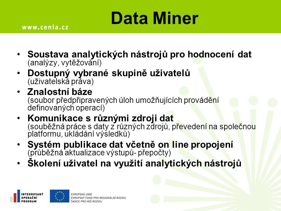 Data Miner Soustava analytických nástrojů pro hodnocení dat (analýzy, vytěžování) Dostupný vybrané skupině uživatelů (uživatelská práva)