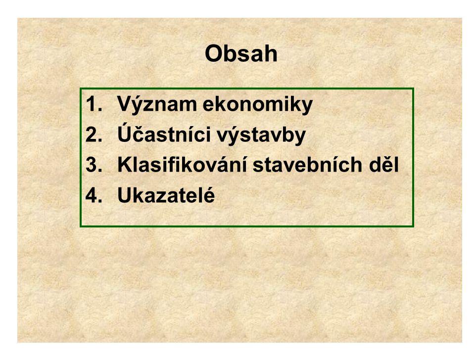 Obsah Význam ekonomiky Účastníci výstavby Klasifikování stavebních děl