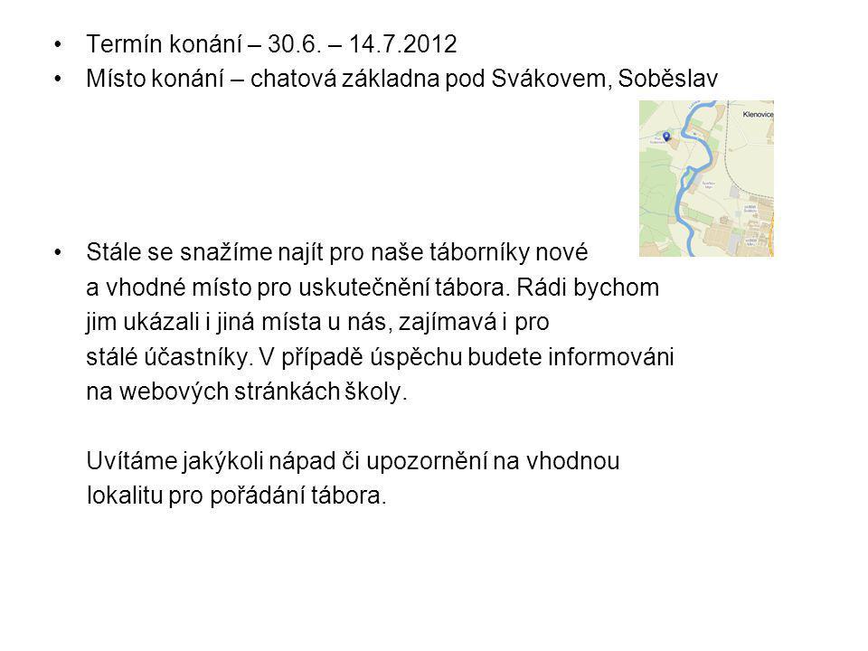 Termín konání – 30.6. – 14.7.2012 Místo konání – chatová základna pod Svákovem, Soběslav. Stále se snažíme najít pro naše táborníky nové.
