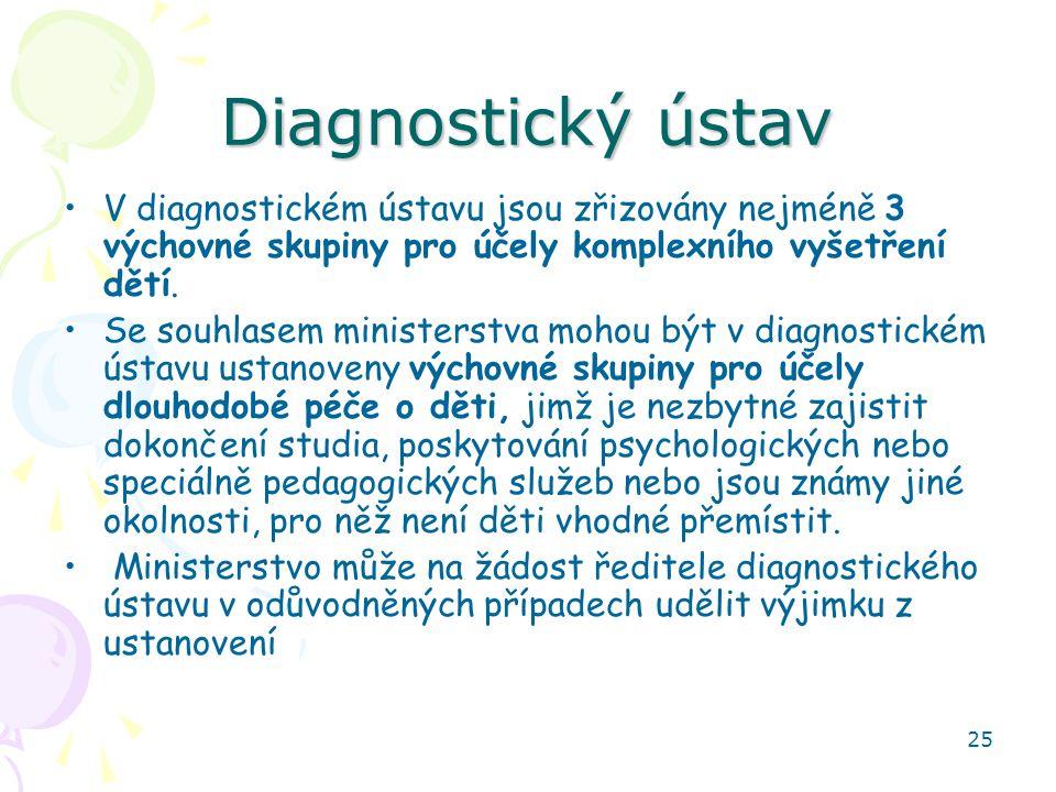 Diagnostický ústav V diagnostickém ústavu jsou zřizovány nejméně 3 výchovné skupiny pro účely komplexního vyšetření dětí.