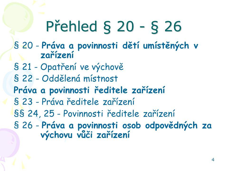 Přehled § 20 - § 26 § 20 - Práva a povinnosti dětí umístěných v zařízení. § 21 - Opatření ve výchově.