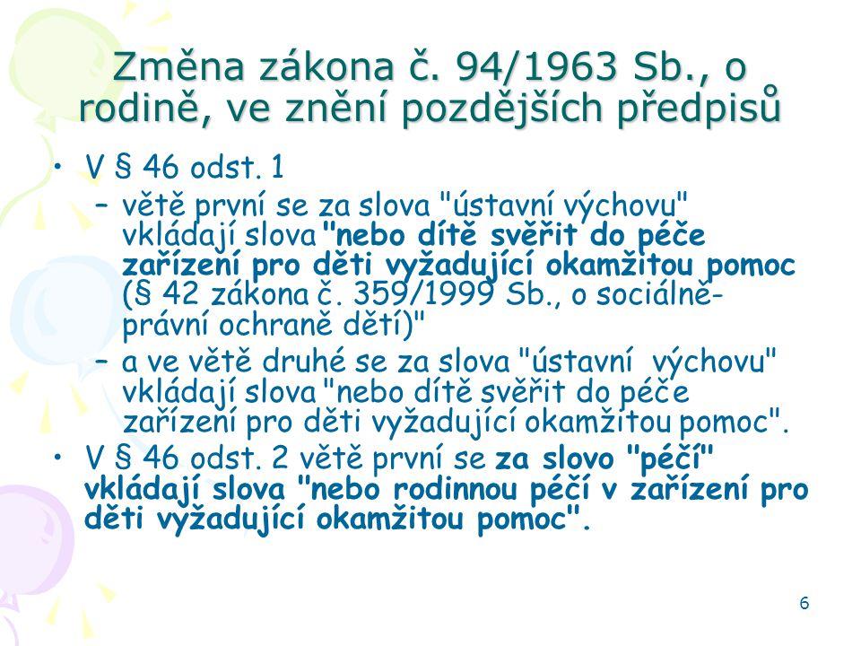 Změna zákona č. 94/1963 Sb., o rodině, ve znění pozdějších předpisů