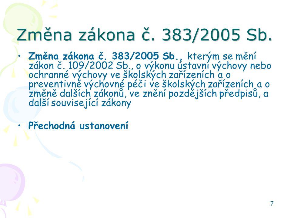 Změna zákona č. 383/2005 Sb.
