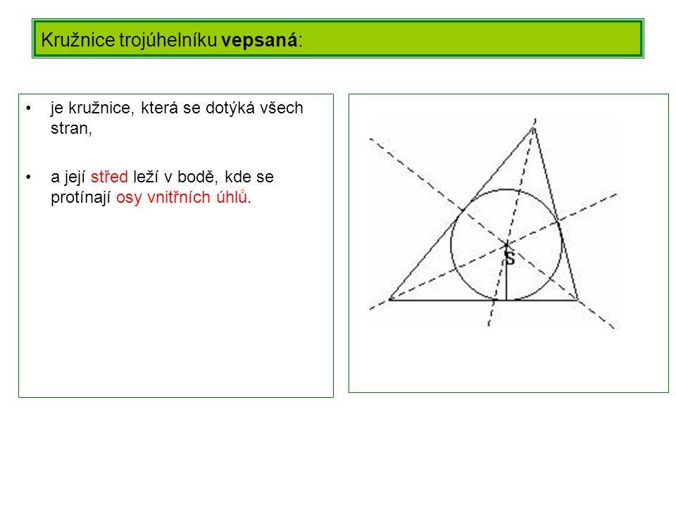 Kružnice trojúhelníku vepsaná: