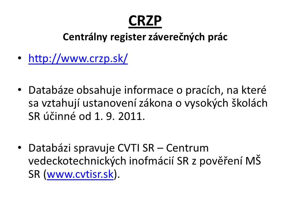 CRZP Centrálny register záverečných prác