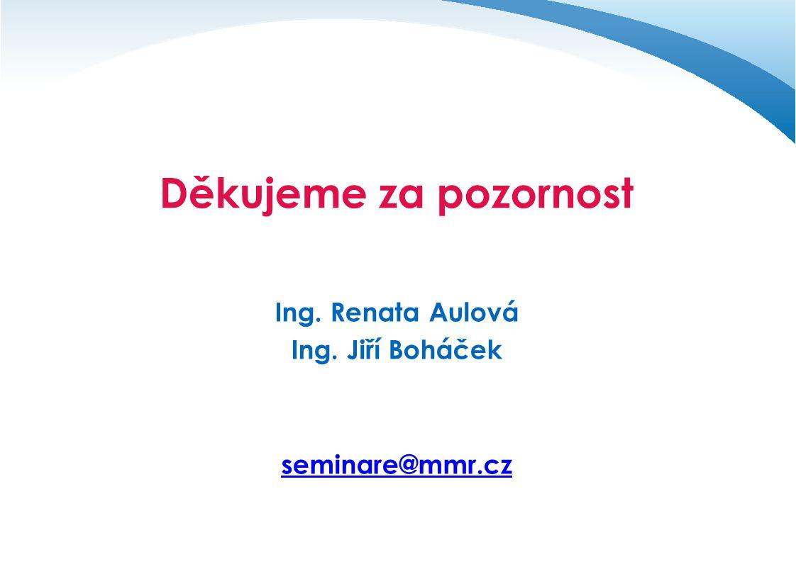 Děkujeme za pozornost Ing. Renata Aulová Ing. Jiří Boháček