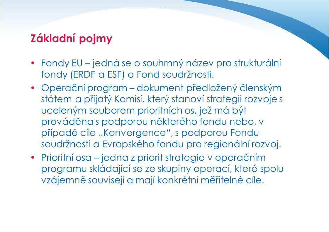 Základní pojmy Fondy EU – jedná se o souhrnný název pro strukturální fondy (ERDF a ESF) a Fond soudržnosti.