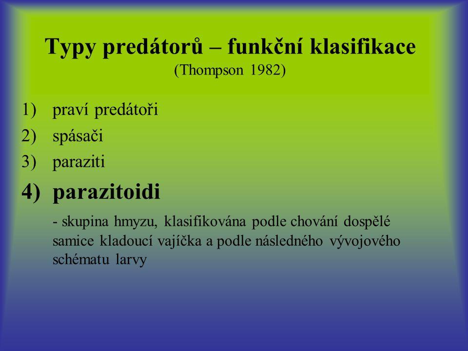 Typy predátorů – funkční klasifikace (Thompson 1982)