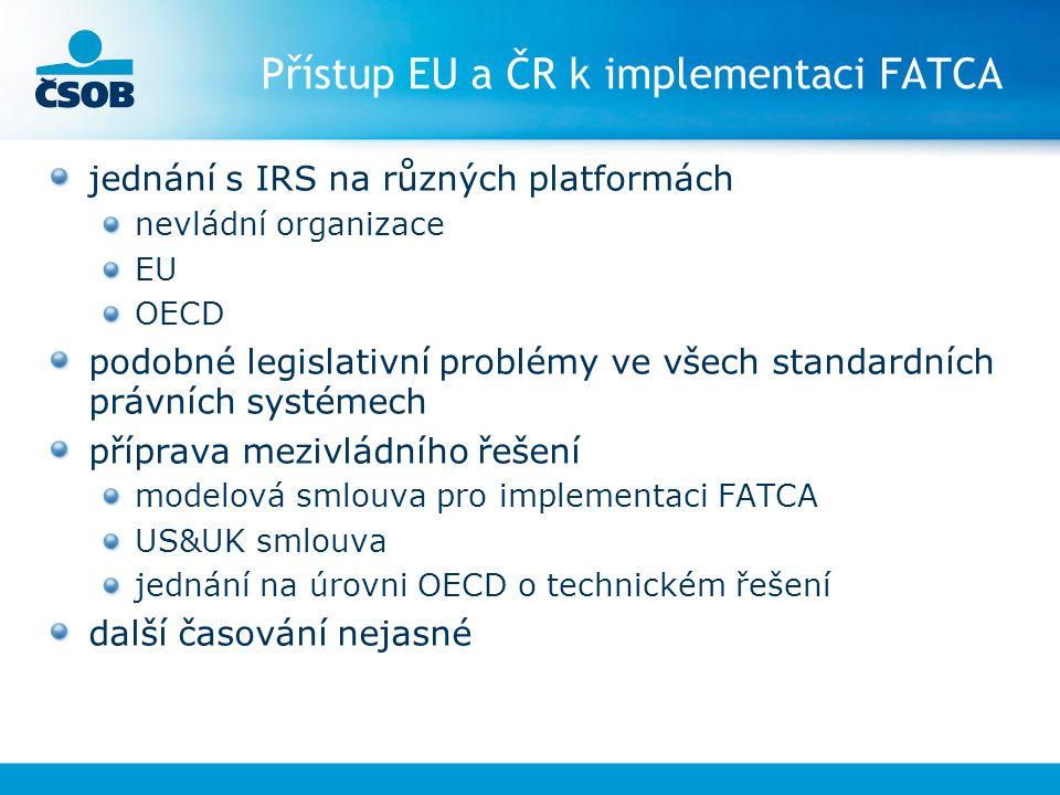 Přístup EU a ČR k implementaci FATCA