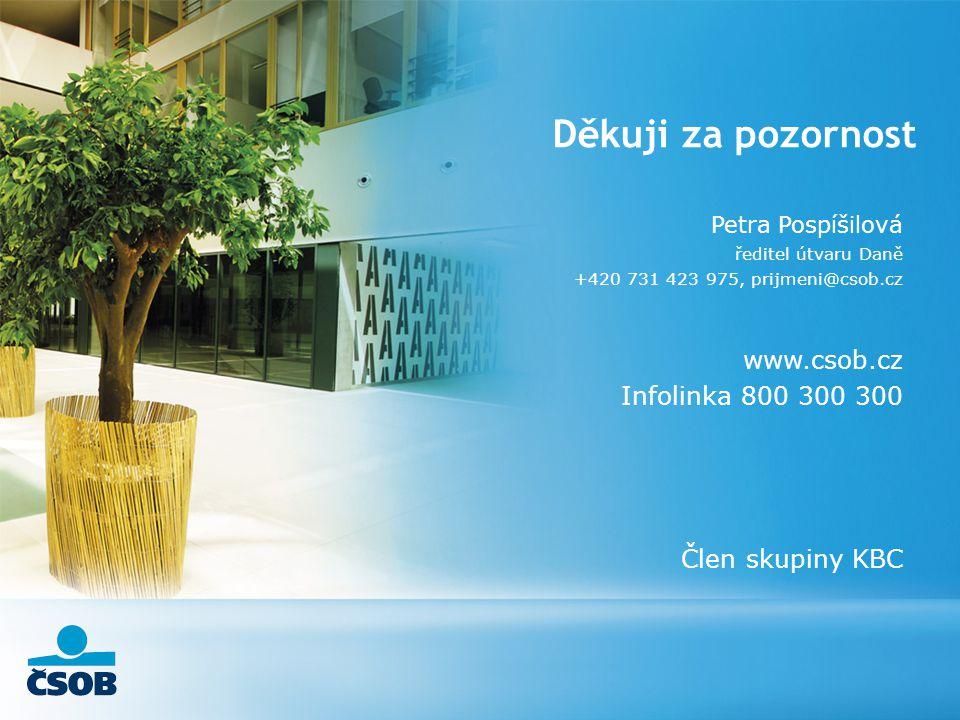 Děkuji za pozornost www.csob.cz Infolinka 800 300 300 Člen skupiny KBC