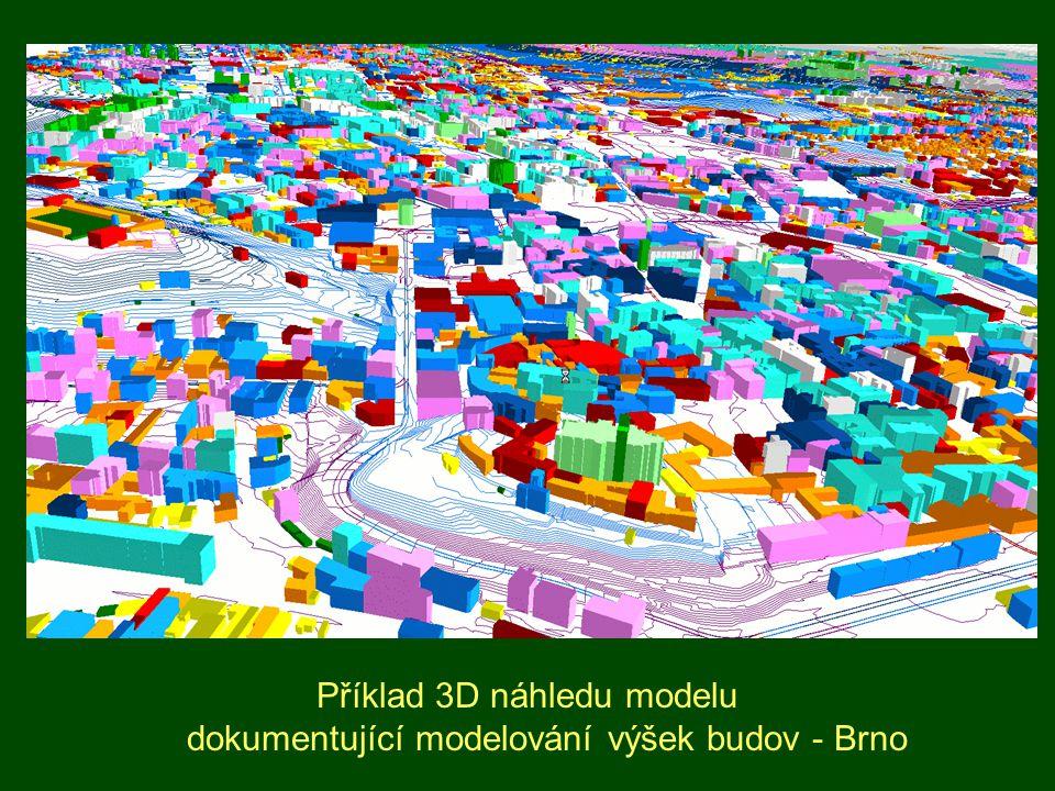 Příklad 3D náhledu modelu dokumentující modelování výšek budov - Brno