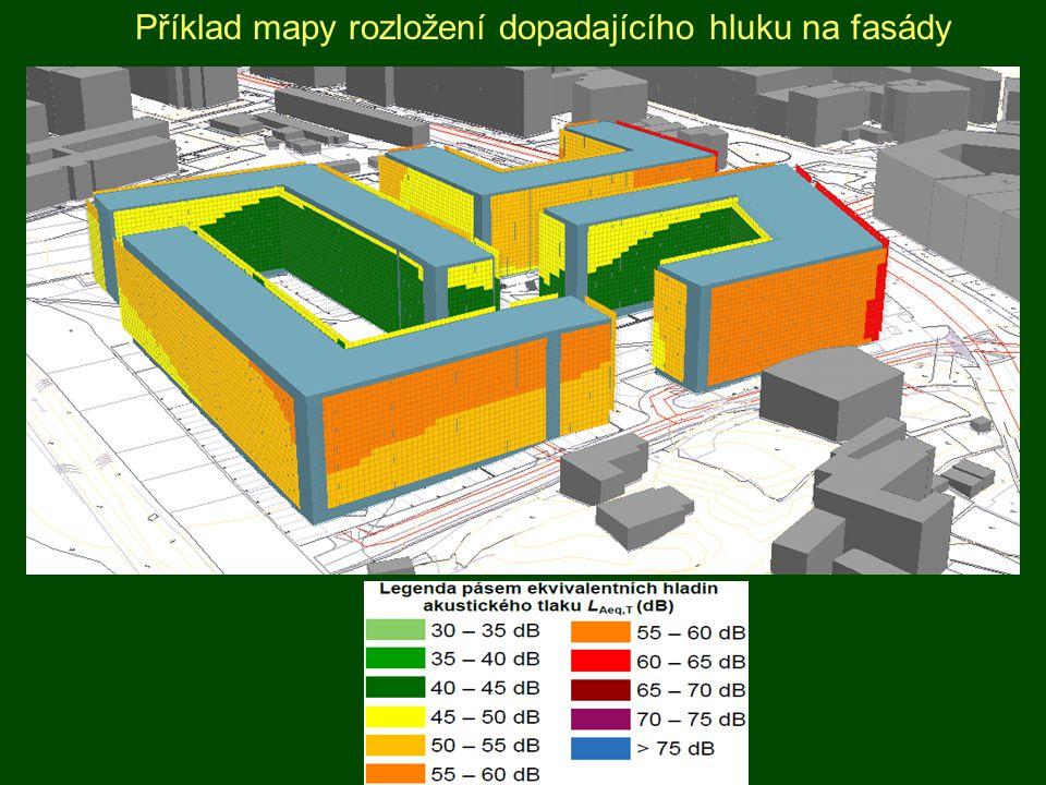 Příklad mapy rozložení dopadajícího hluku na fasády