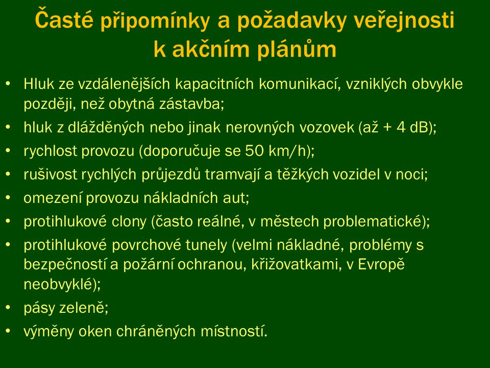 Časté připomínky a požadavky veřejnosti k akčním plánům