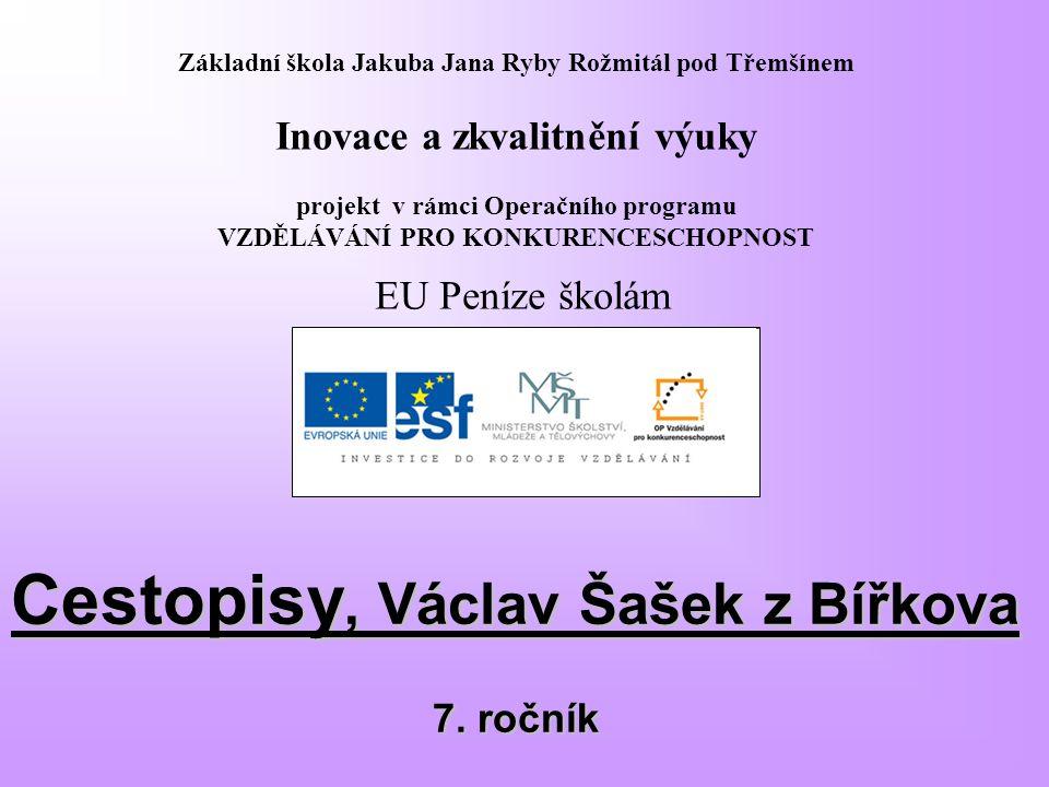 Cestopisy, Václav Šašek z Bířkova