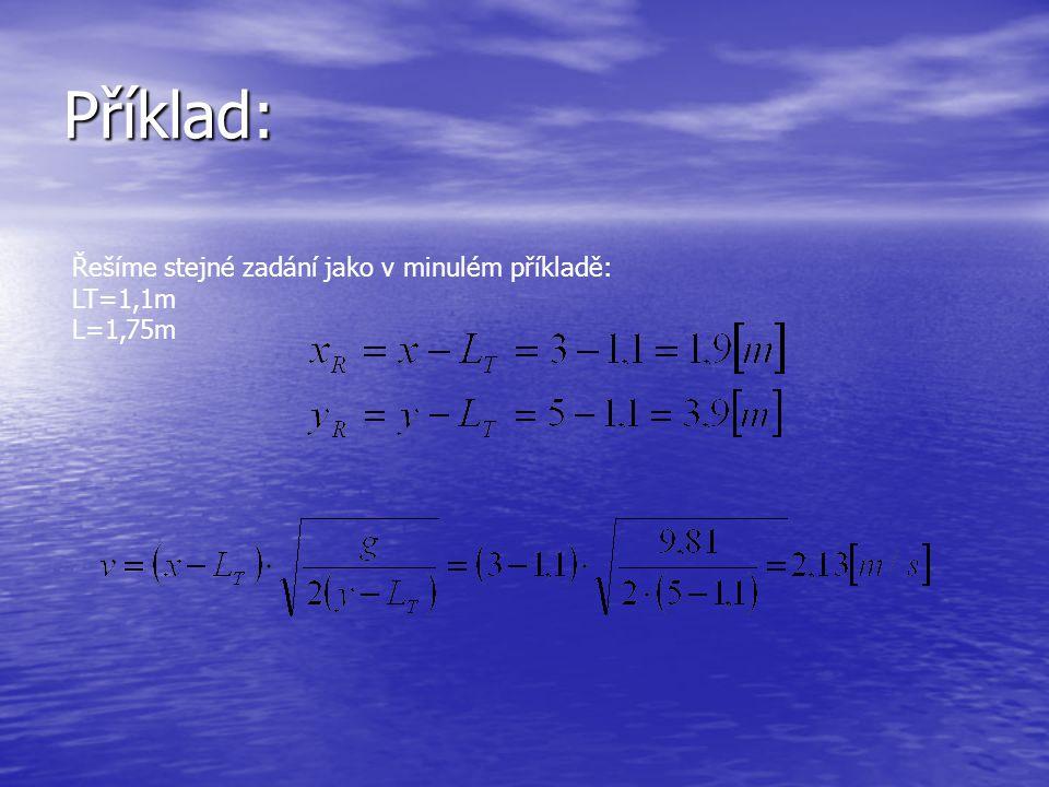 Příklad: Řešíme stejné zadání jako v minulém příkladě: LT=1,1m L=1,75m
