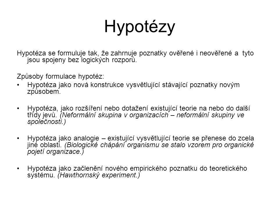 Hypotézy Hypotéza se formuluje tak, že zahrnuje poznatky ověřené i neověřené a tyto jsou spojeny bez logických rozporů.