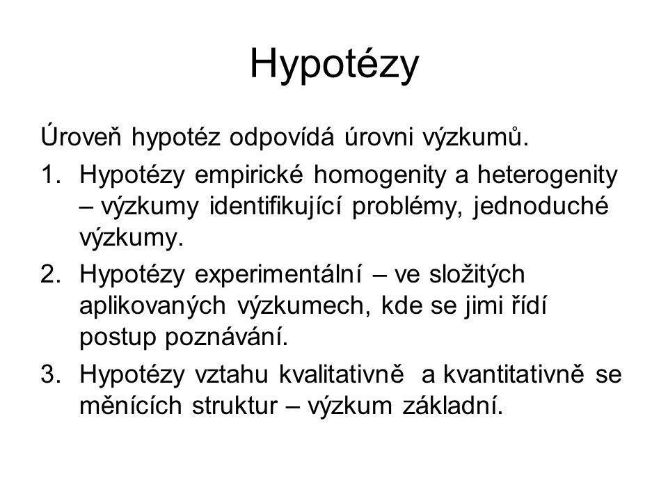 Hypotézy Úroveň hypotéz odpovídá úrovni výzkumů.