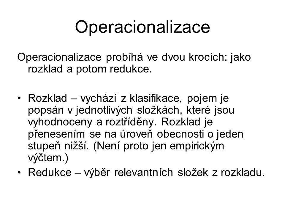 Operacionalizace Operacionalizace probíhá ve dvou krocích: jako rozklad a potom redukce.