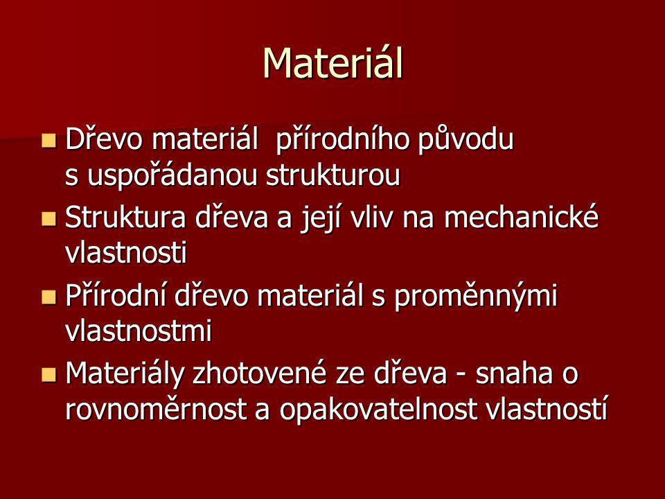Materiál Dřevo materiál přírodního původu s uspořádanou strukturou