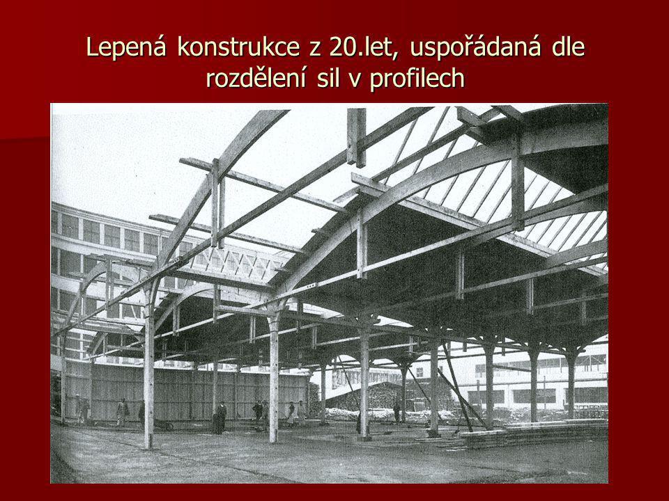 Lepená konstrukce z 20.let, uspořádaná dle rozdělení sil v profilech