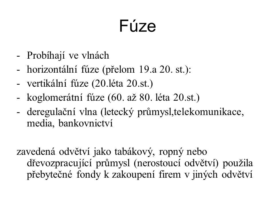 Fúze Probíhají ve vlnách horizontální fúze (přelom 19.a 20. st.):
