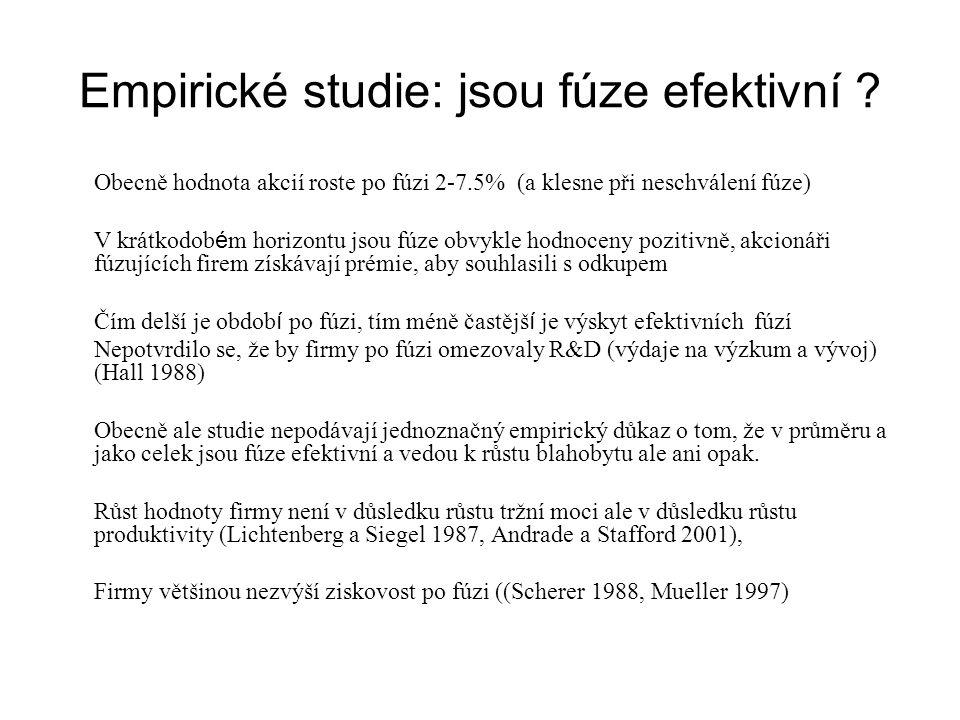 Empirické studie: jsou fúze efektivní