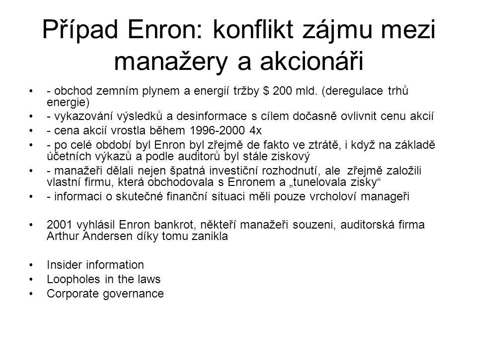 Případ Enron: konflikt zájmu mezi manažery a akcionáři
