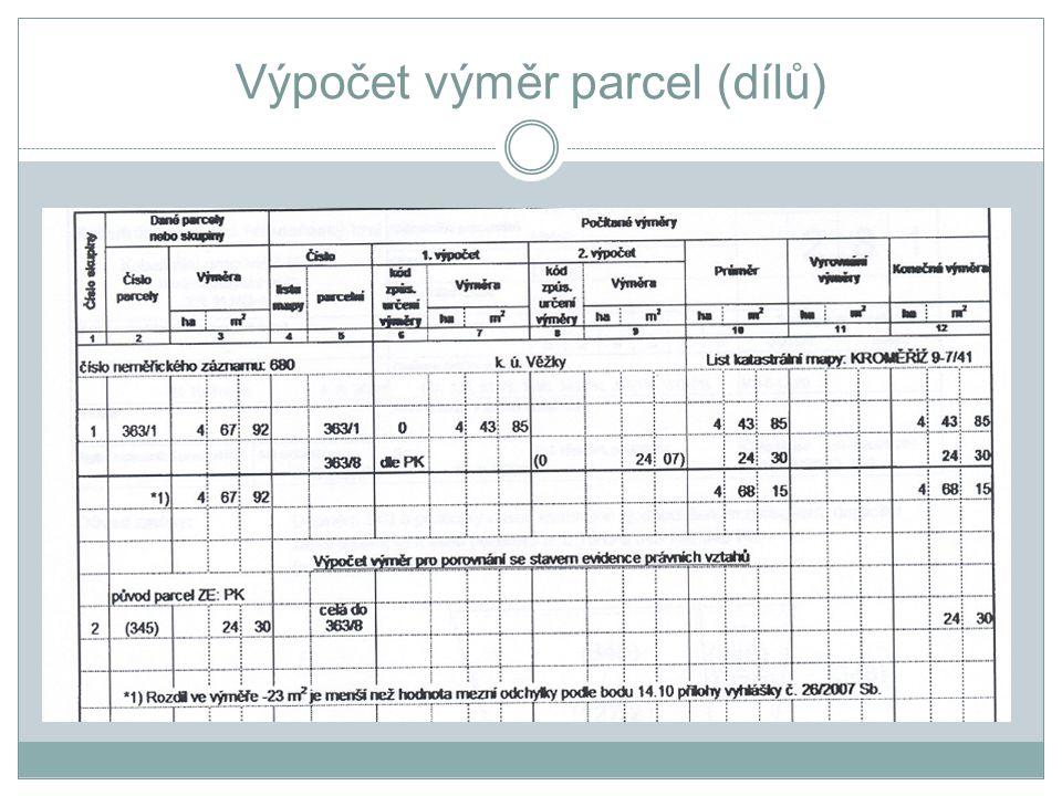Výpočet výměr parcel (dílů)