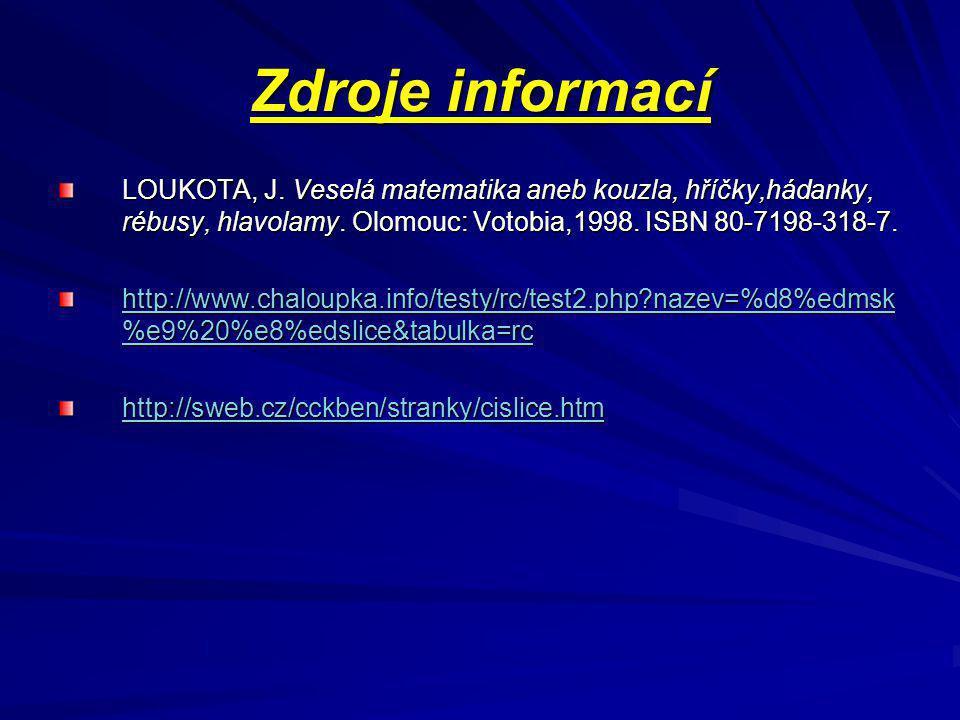 Zdroje informací LOUKOTA, J. Veselá matematika aneb kouzla, hříčky,hádanky, rébusy, hlavolamy. Olomouc: Votobia,1998. ISBN 80-7198-318-7.