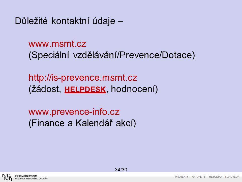 Důležité kontaktní údaje – www. msmt