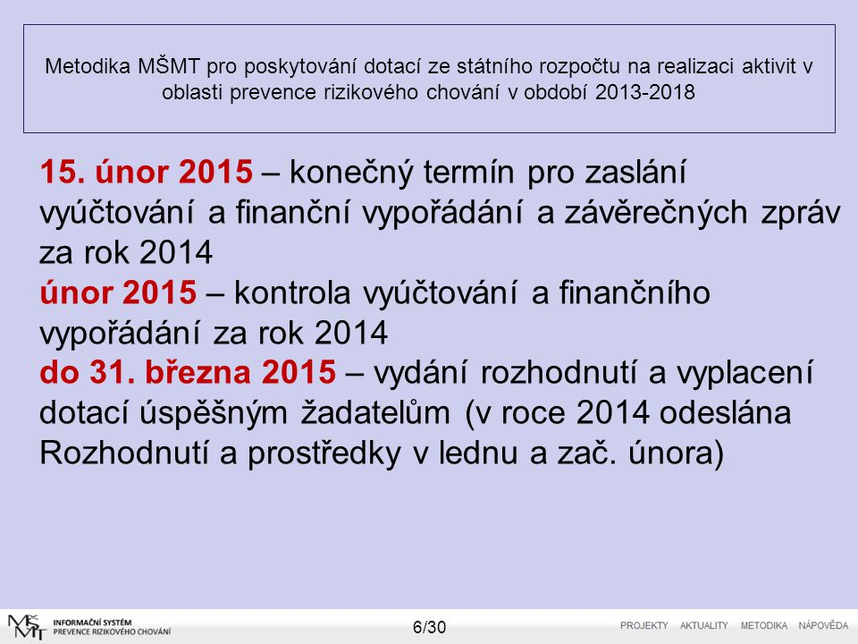 únor 2015 – kontrola vyúčtování a finančního vypořádání za rok 2014