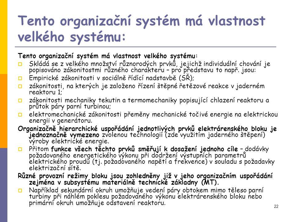 Tento organizační systém má vlastnost velkého systému: