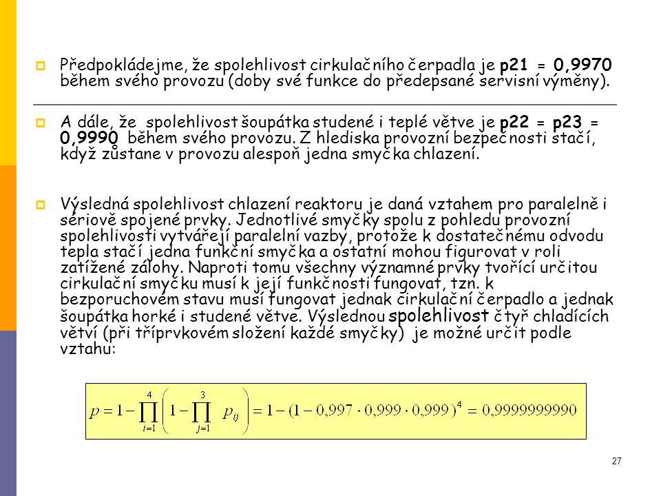 Předpokládejme, že spolehlivost cirkulačního čerpadla je p21 = 0,9970 během svého provozu (doby své funkce do předepsané servisní výměny).