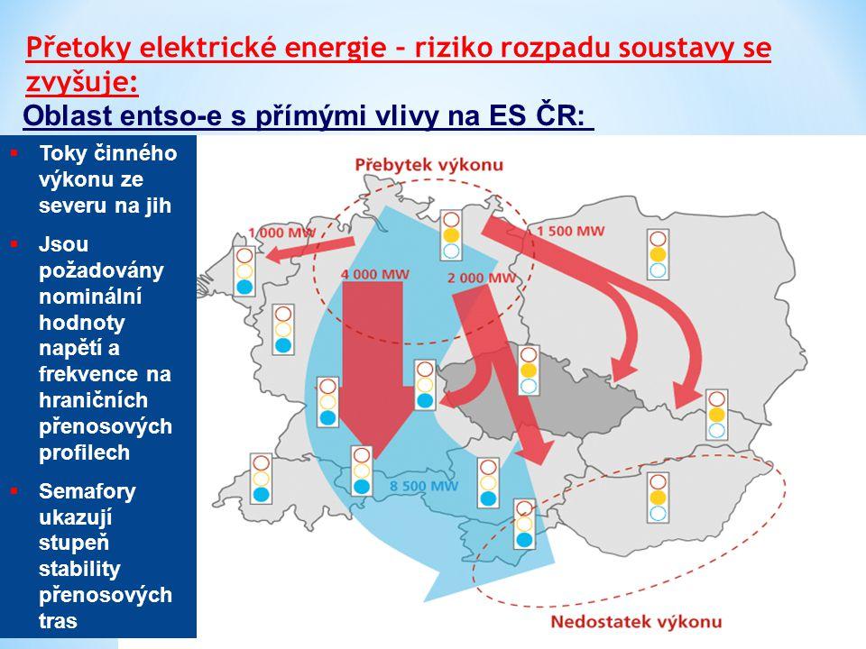 Oblast entso-e s přímými vlivy na ES ČR: