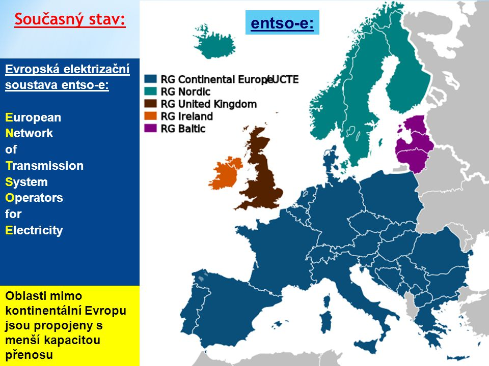 Současný stav: entso-e: Evropská elektrizační soustava entso-e: