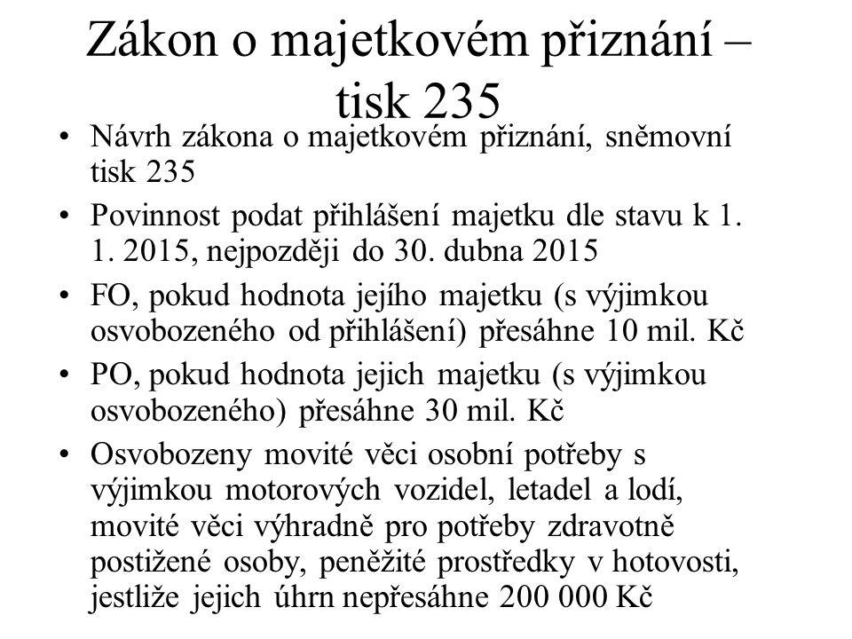 Zákon o majetkovém přiznání – tisk 235
