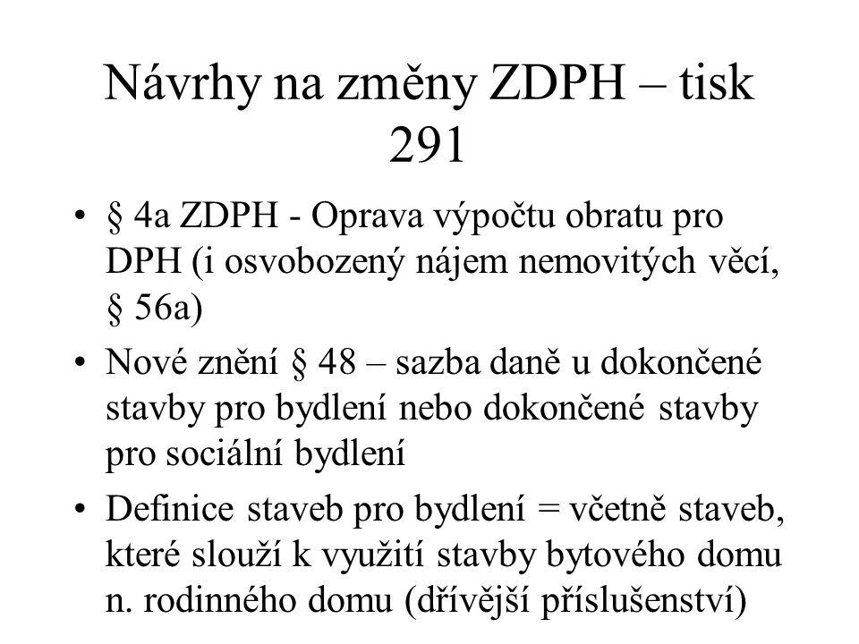Návrhy na změny ZDPH – tisk 291