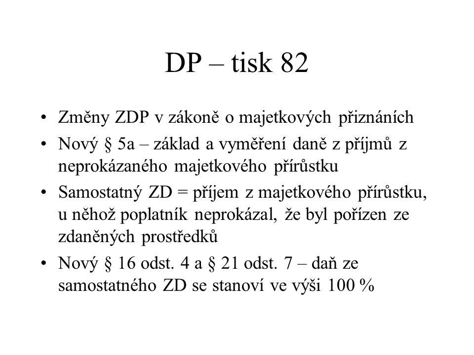 DP – tisk 82 Změny ZDP v zákoně o majetkových přiznáních