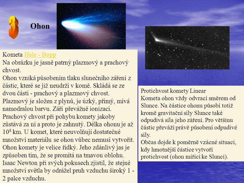 3 Ohon. Kometa Hale - Bopp Na obrázku je jasně patrný plazmový a prachový chvost.
