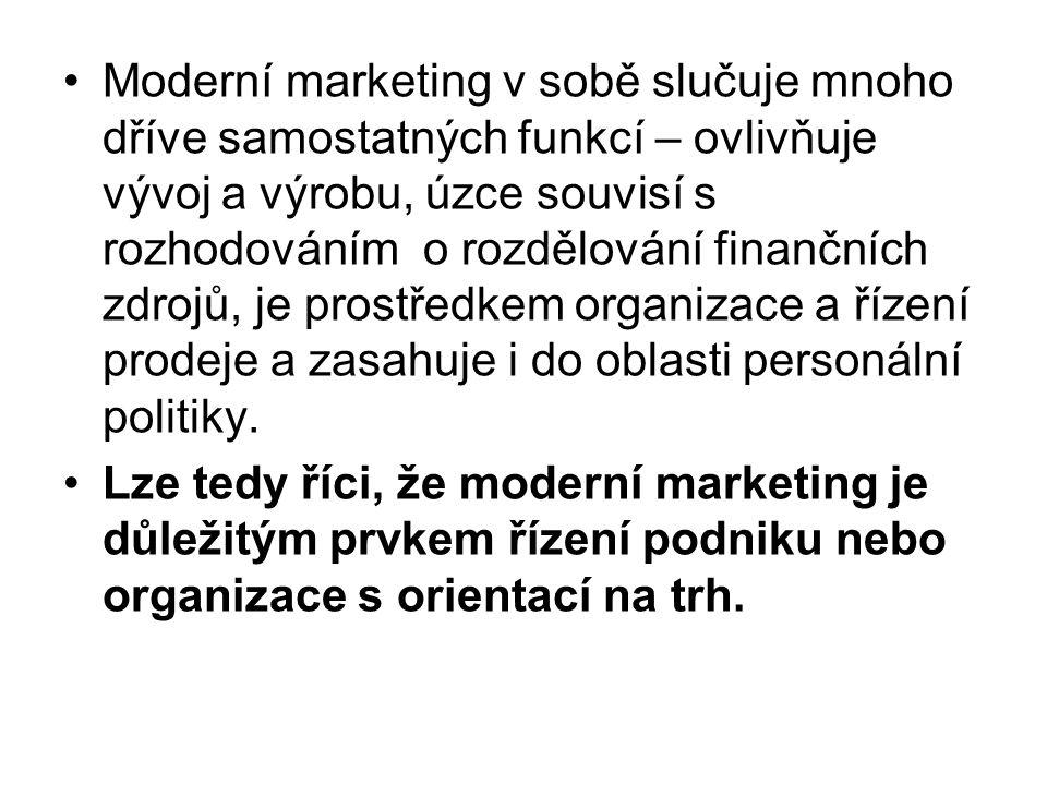 Moderní marketing v sobě slučuje mnoho dříve samostatných funkcí – ovlivňuje vývoj a výrobu, úzce souvisí s rozhodováním o rozdělování finančních zdrojů, je prostředkem organizace a řízení prodeje a zasahuje i do oblasti personální politiky.