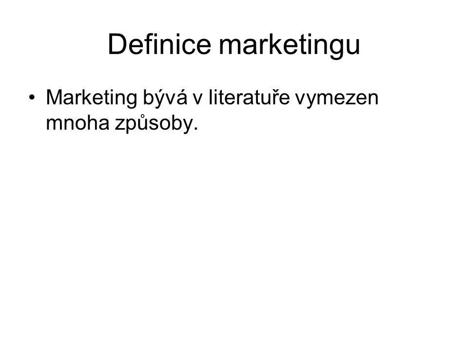 Definice marketingu Marketing bývá v literatuře vymezen mnoha způsoby.