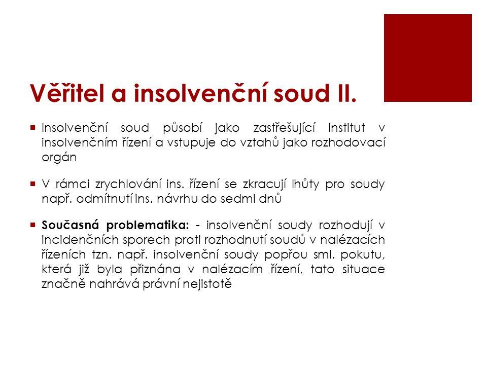 Věřitel a insolvenční soud II.